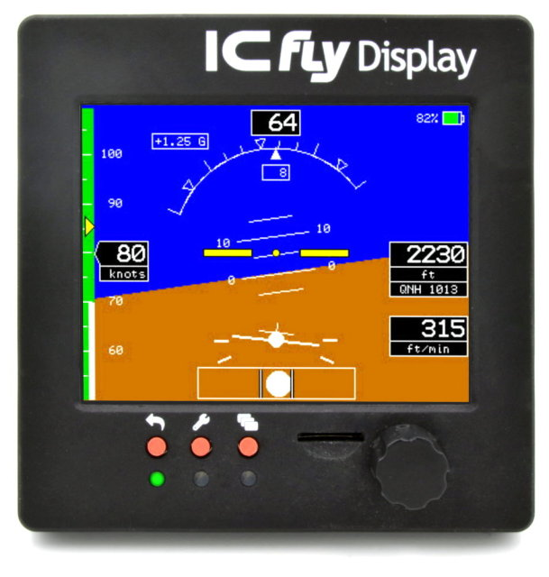 ICfly Display, Artificial Horizon, Motordata and Traffic Display for Microlights, 3.5'' Touch Display, Flight Instrument